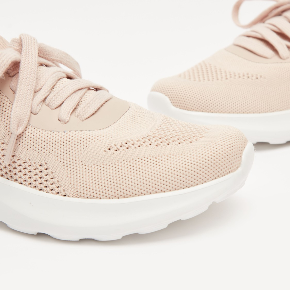 Textured Lace-Up Running Shoes with Pull Tab