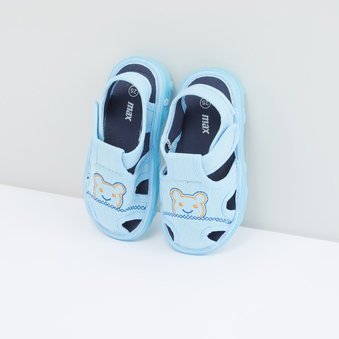 Embroidered Sandals with Hook and Loop Closure