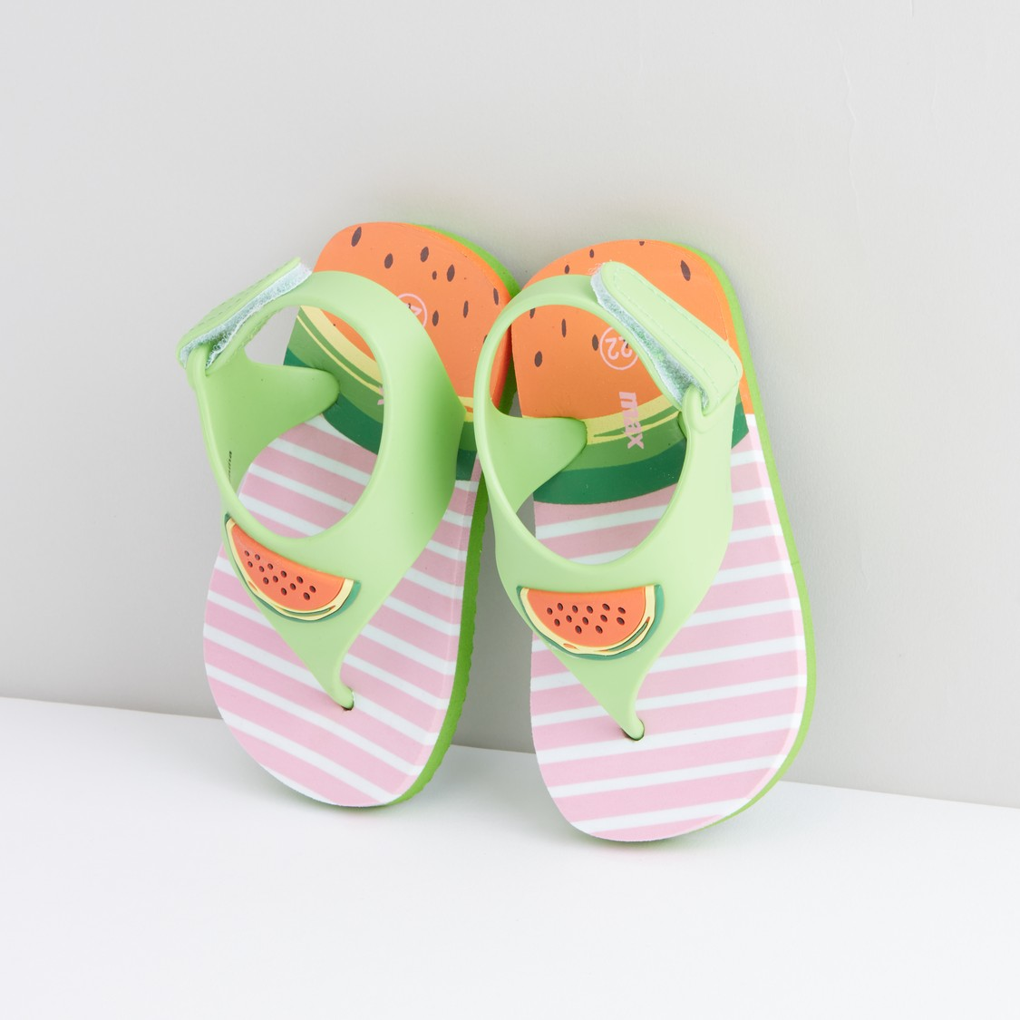 Printed Flip Flops with Applique Detail