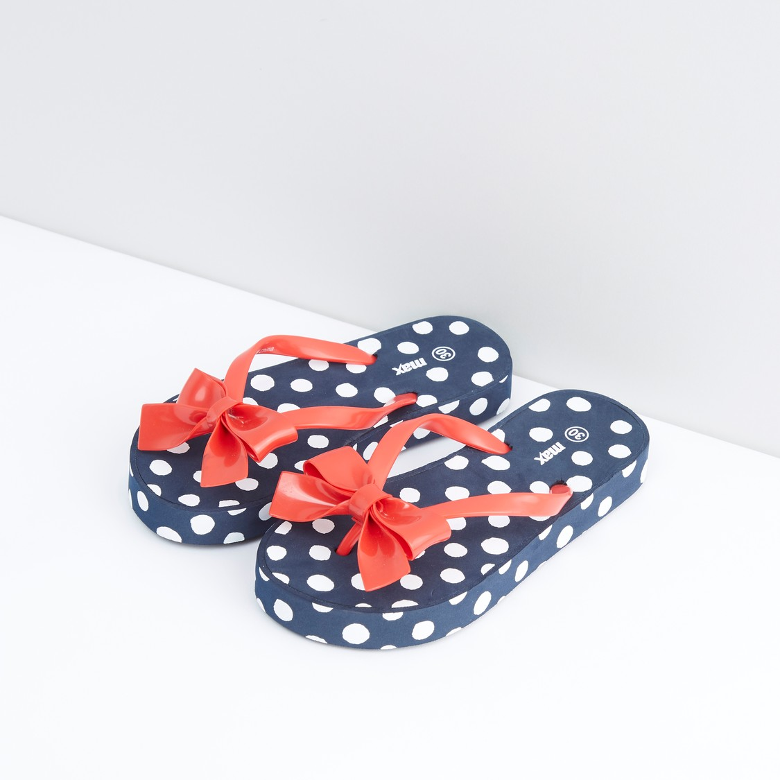 Polka Dot Printed Flip Flops with Bow Accent