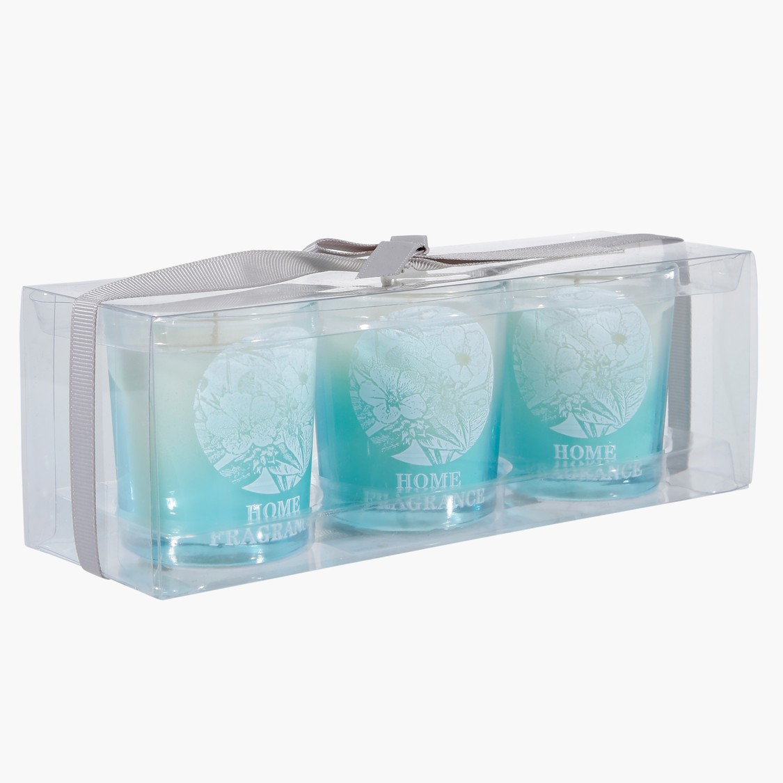 Floral Print Glass Candle - Set of 3