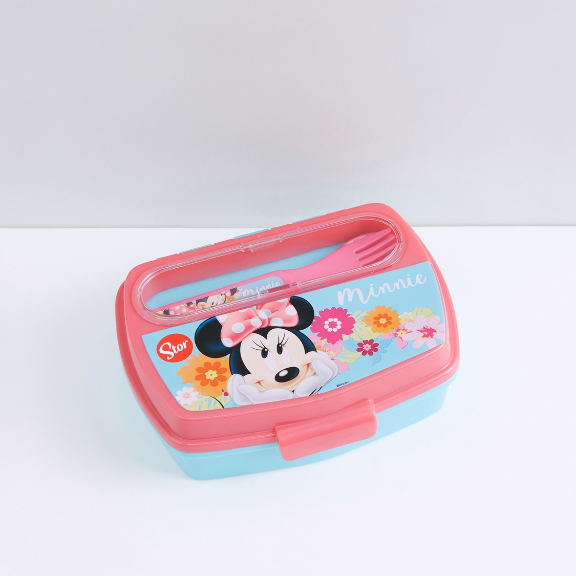 Minnie Mouse Printed Lunchbox with Fork and Spoon