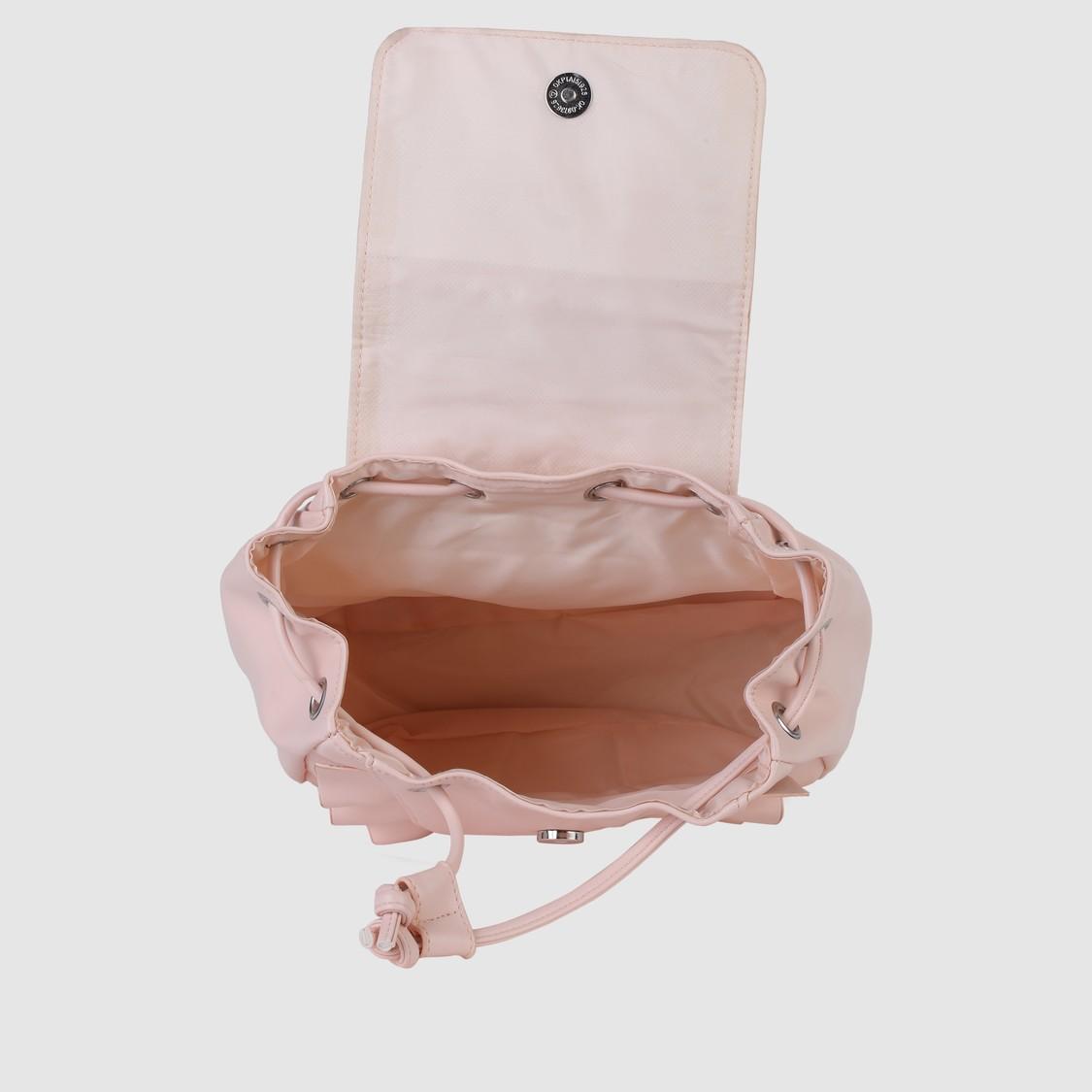 حقيبة ظهر بطيَّة ورباط للإغلاق مع كشكش