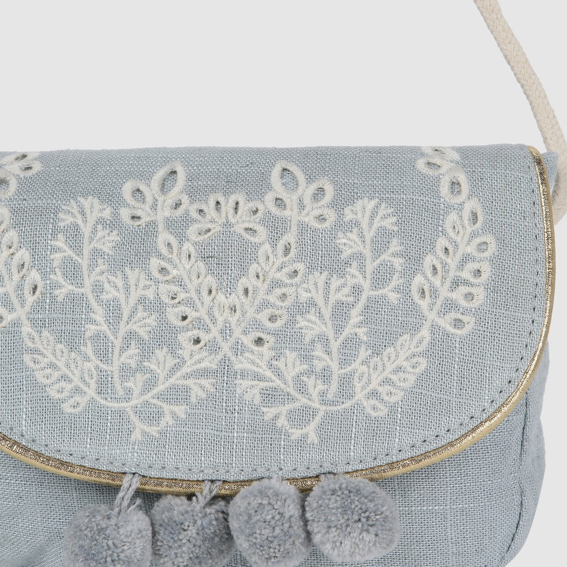 Embroidered Crossbosy Bag with Flap and Pom Pom Detail