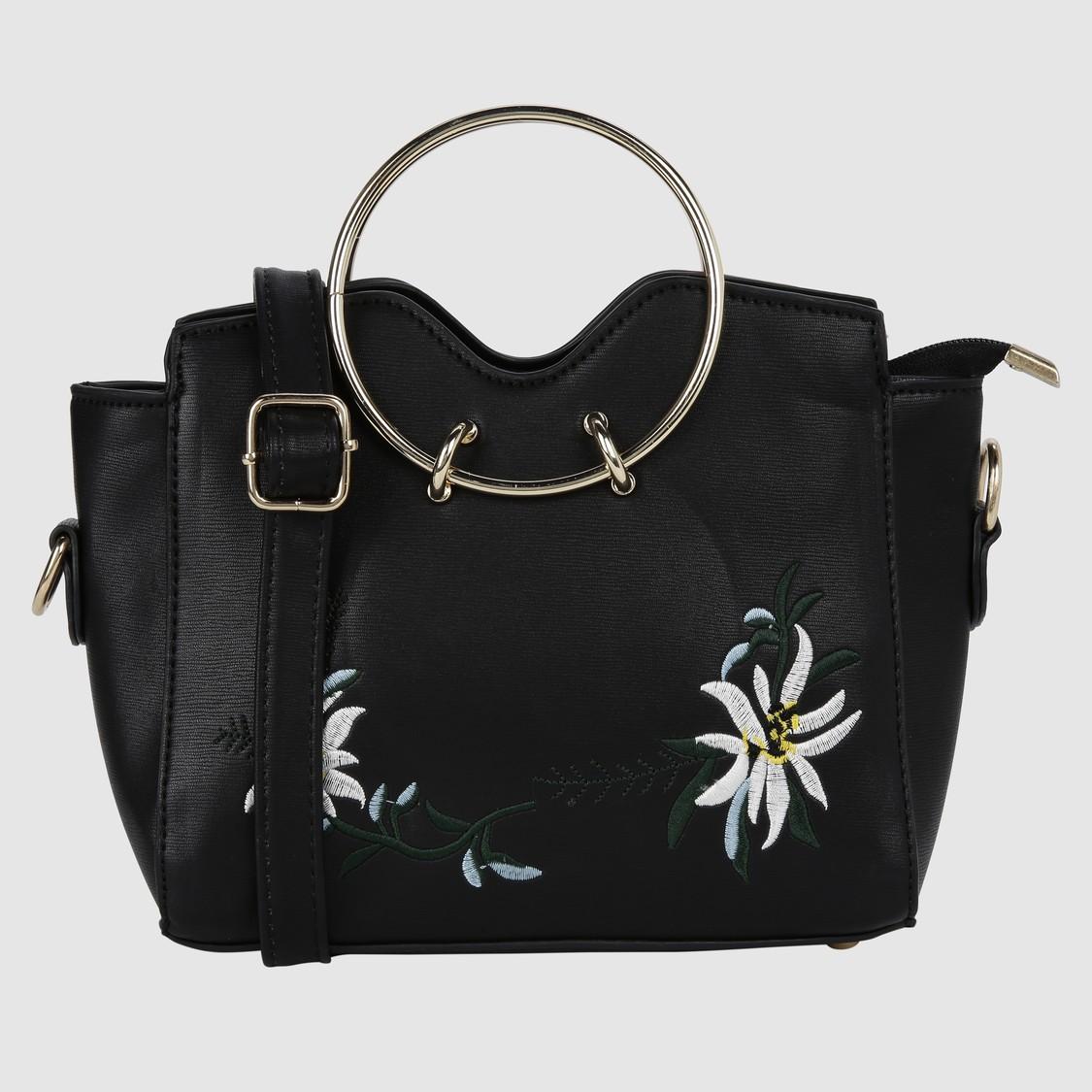 Embroidered Handbag with Zip Closure