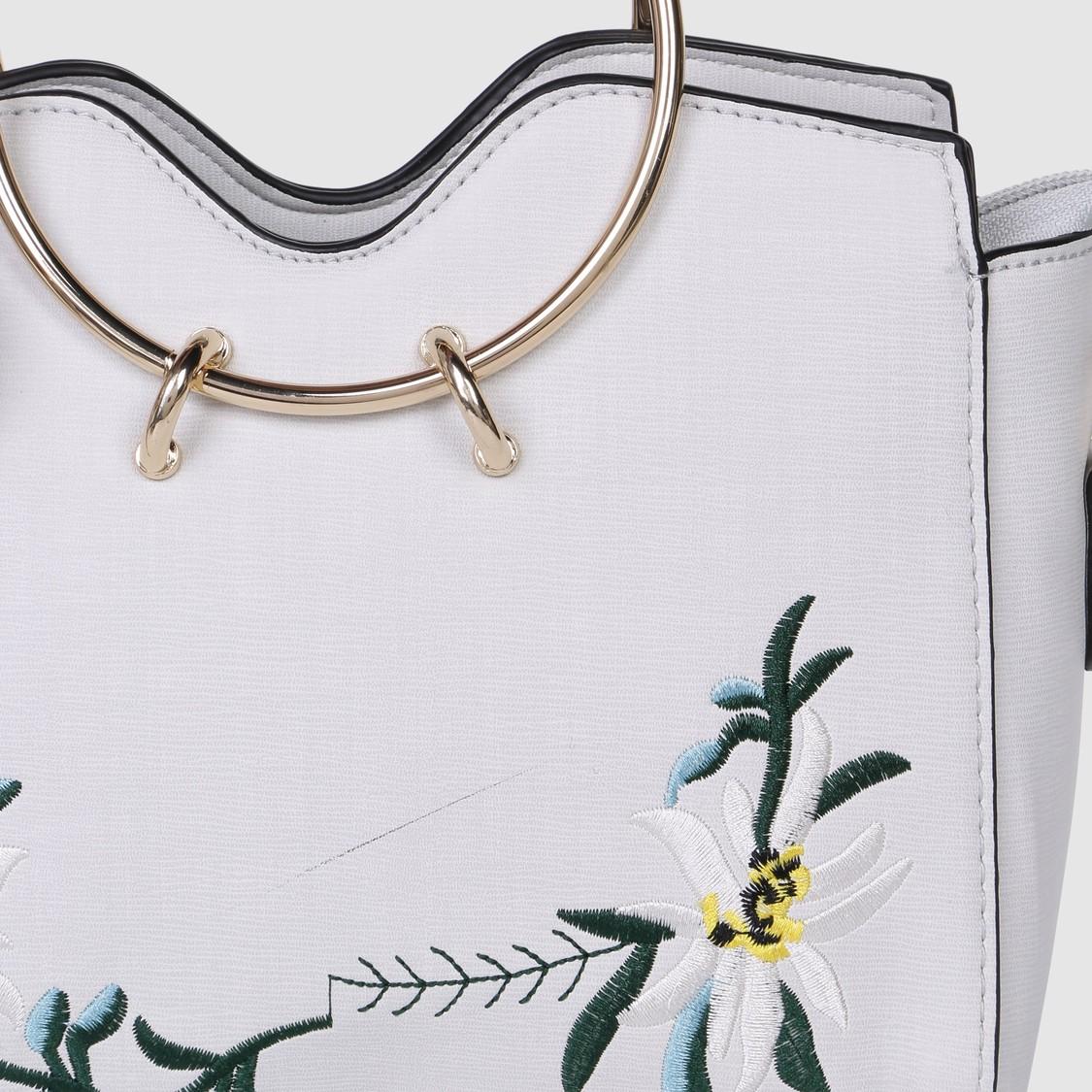 Embroidered Handbag with Round Metallic Handles