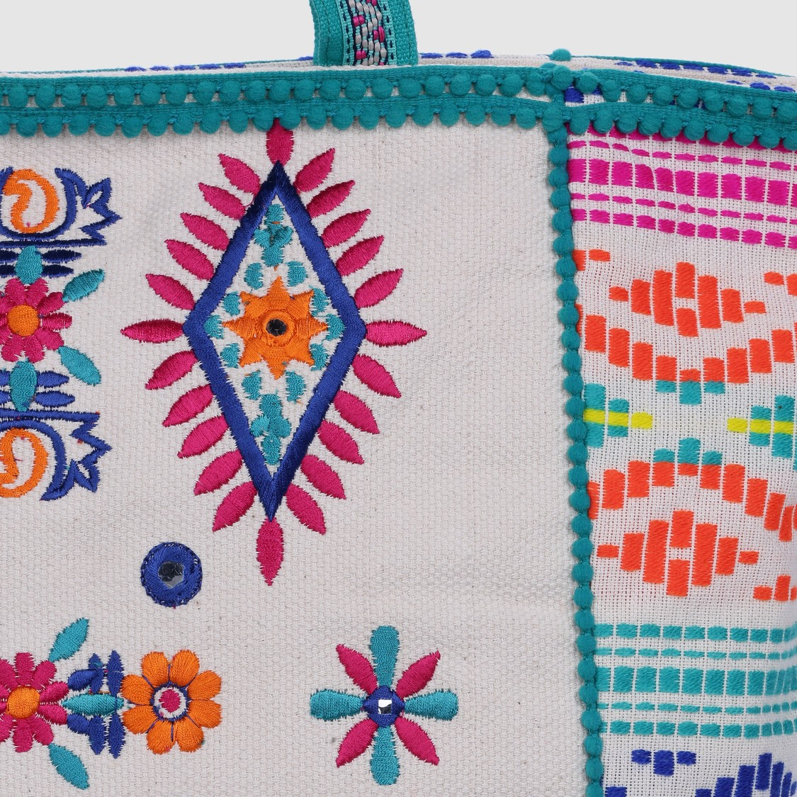 Embroidered Tote Bag with Zip Closure