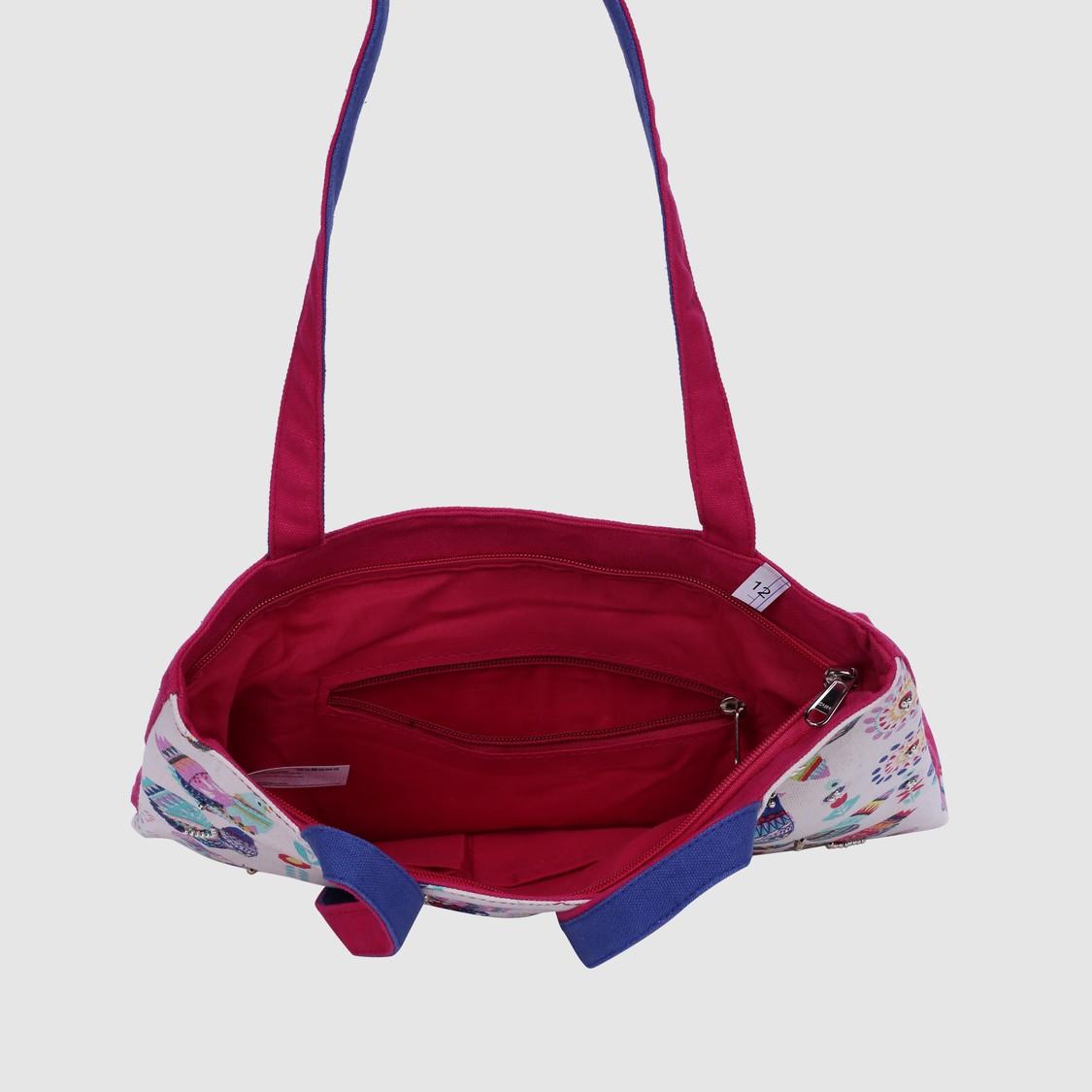 Printed Tote Bag with Zip Closure