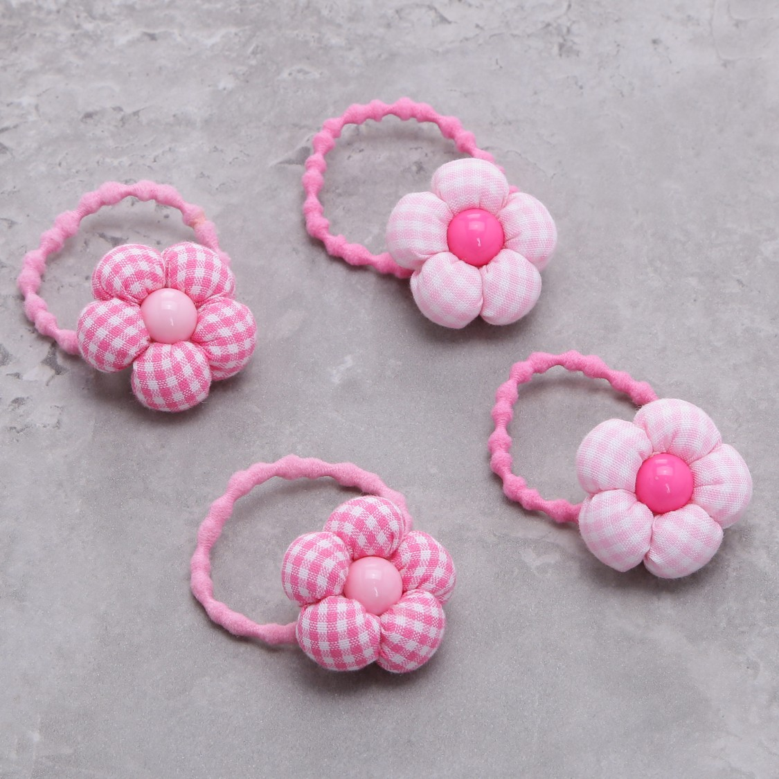 Flower Applique Hair Tie - Set of 4