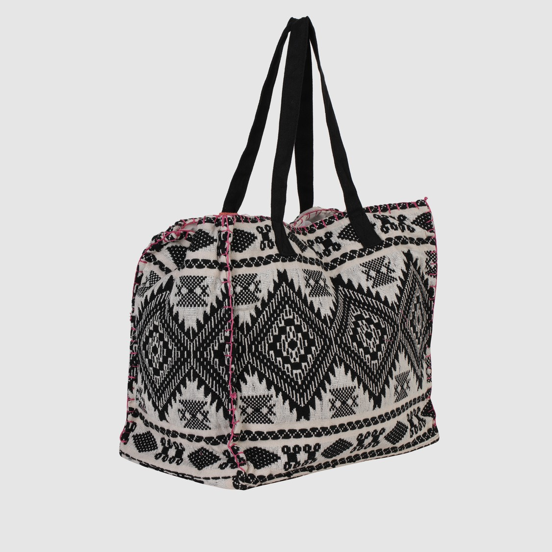 Embroidered Handbag with Snap Closure