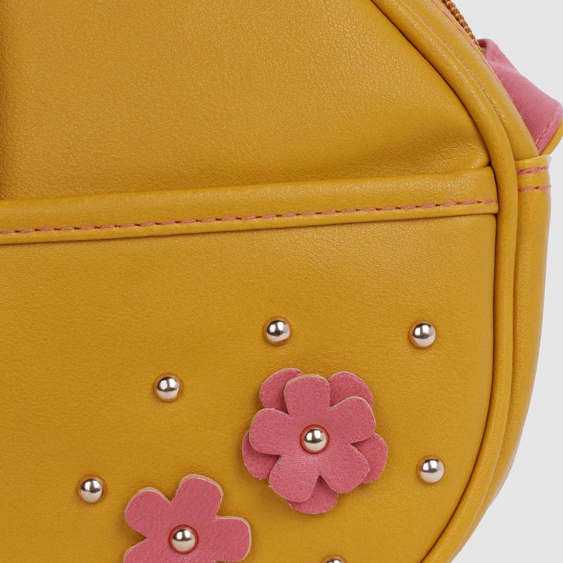 Applique Detail Sling Bag with Zip Closure