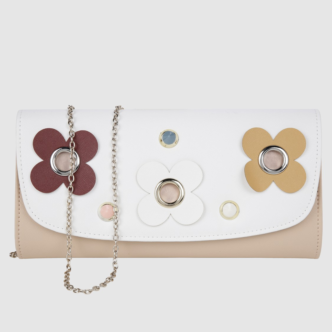 Embellished Sling Bag with Flap and Magnetic Snap Closure