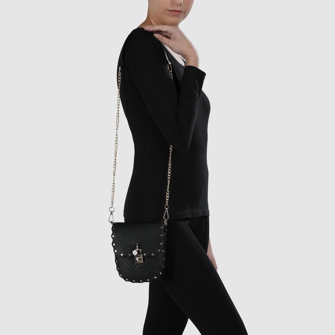 Textured Handbag with Flap