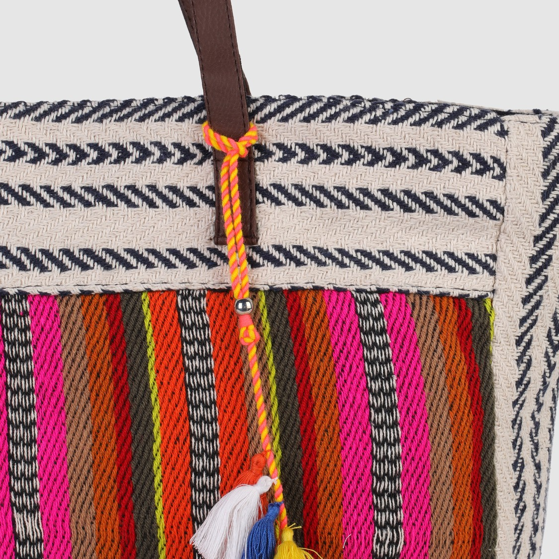 Textured Tote Handbag with Tassels