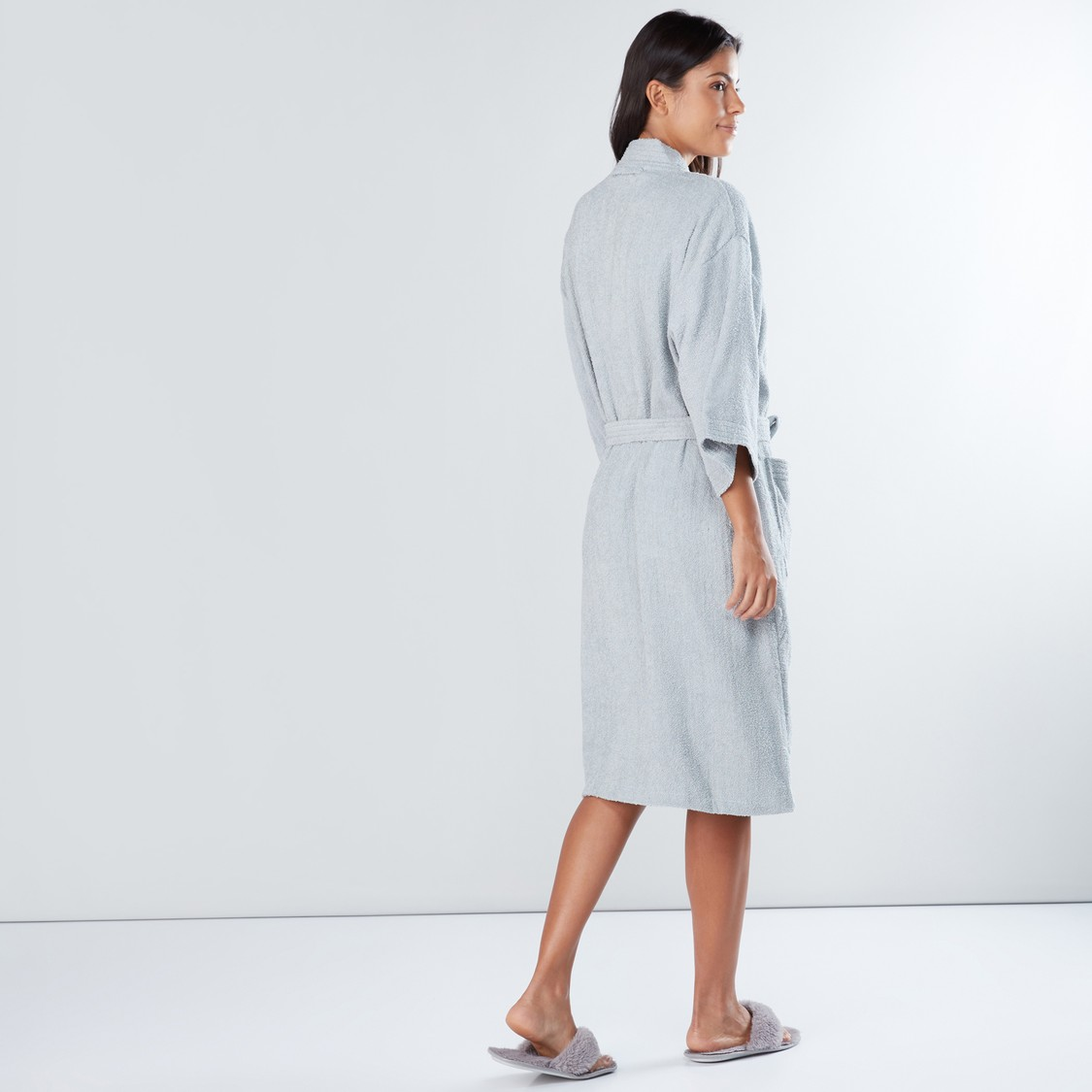Extra Large Textured Bath Robe with Pocket Detail