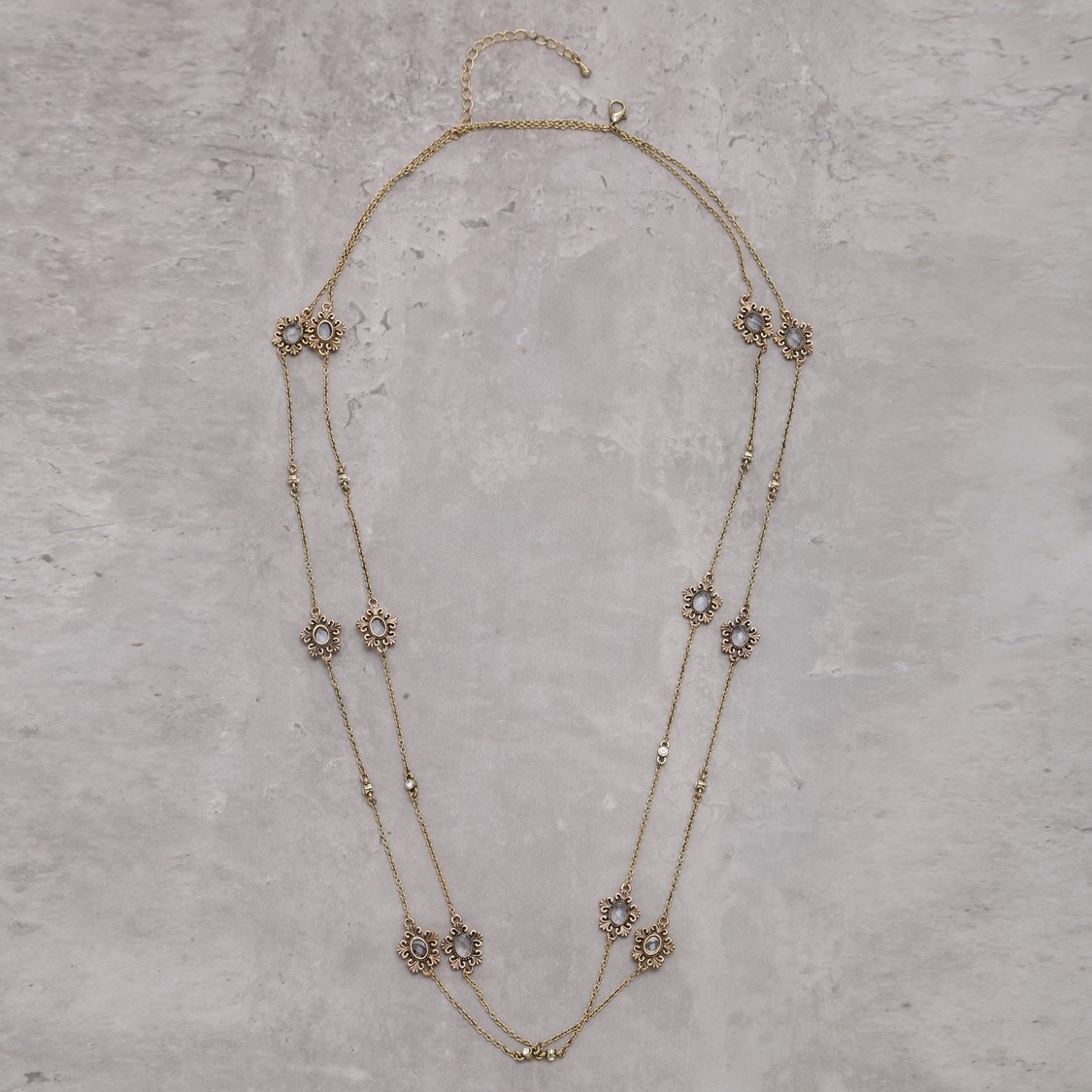 Double Layer Long Necklace with Lobster Clasp