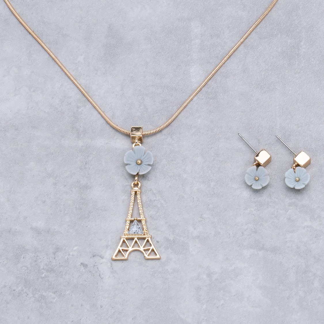 Studded Necklace and Earrings Set