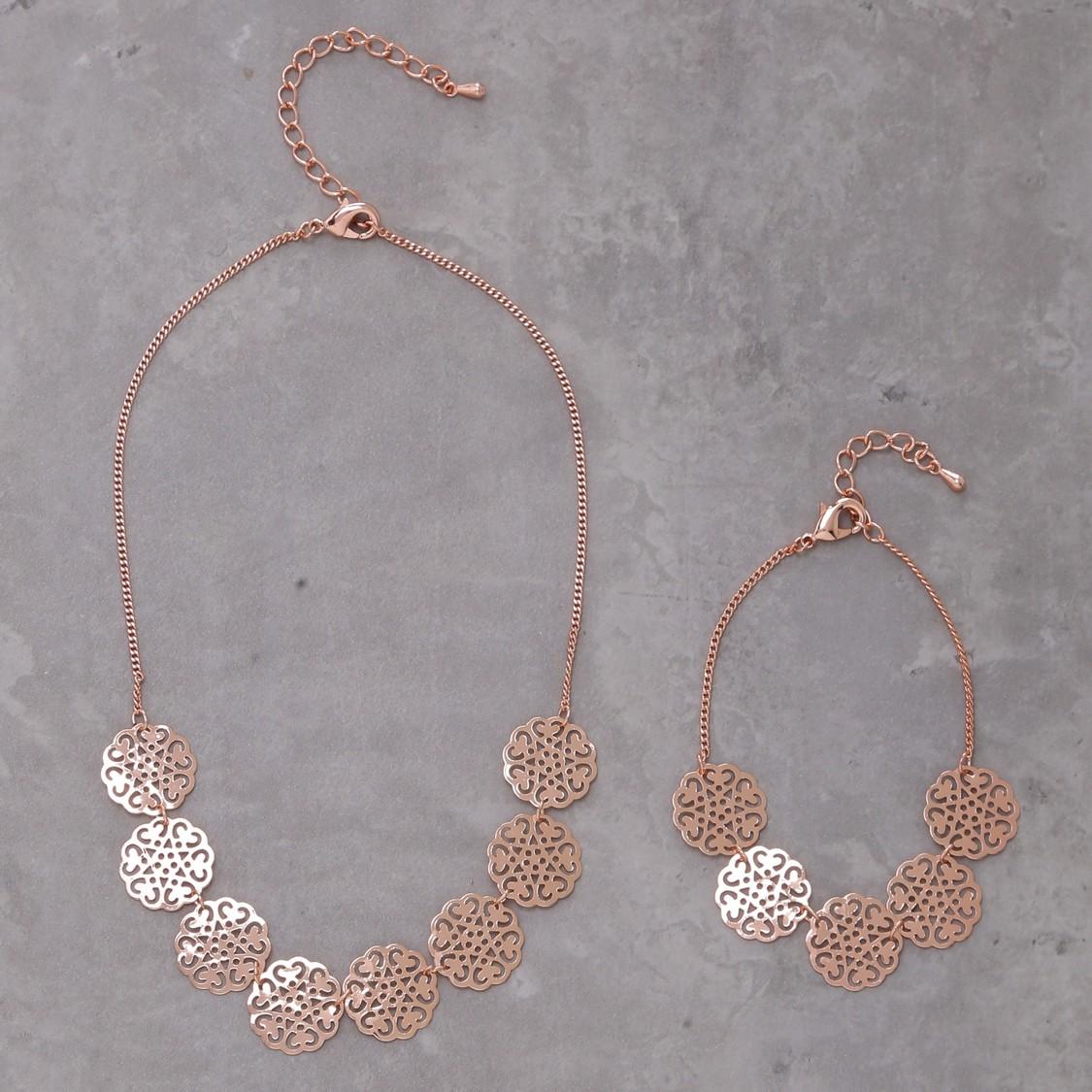 Metallic Necklace and Bracelet Set