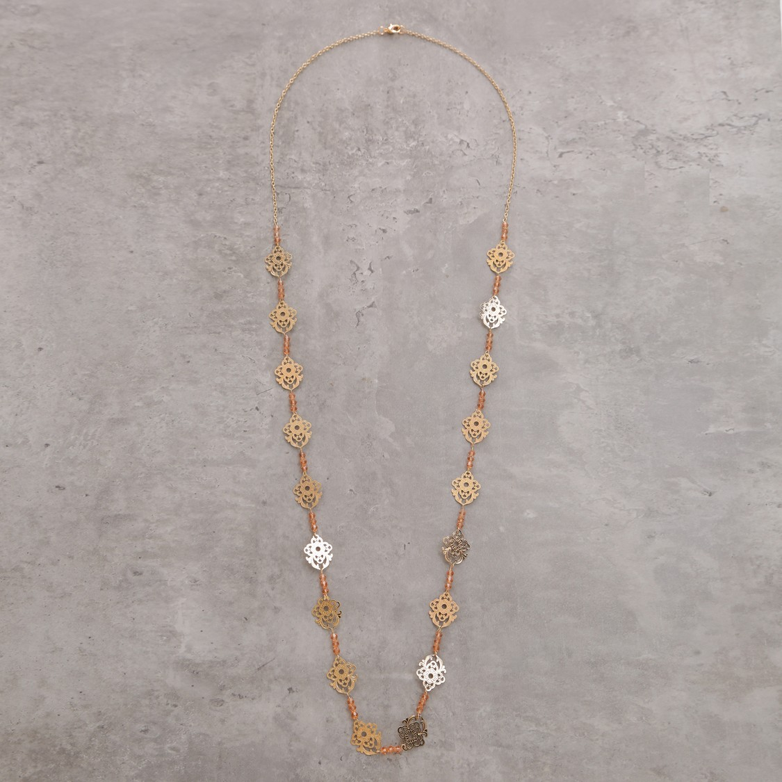 Metallic Long Necklace with Lobster Clasp