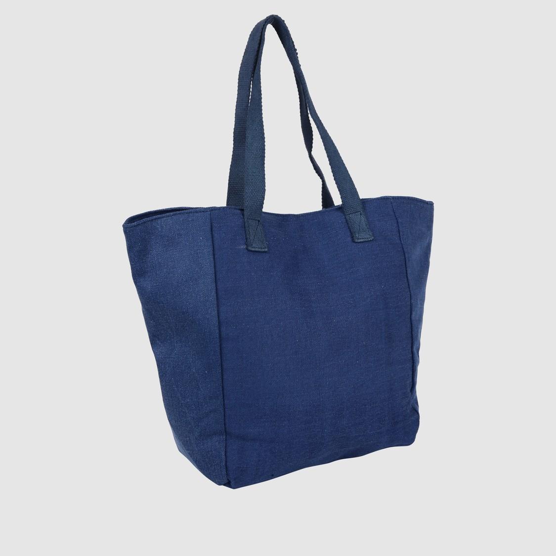 Embroidered Denim Tote Bag
