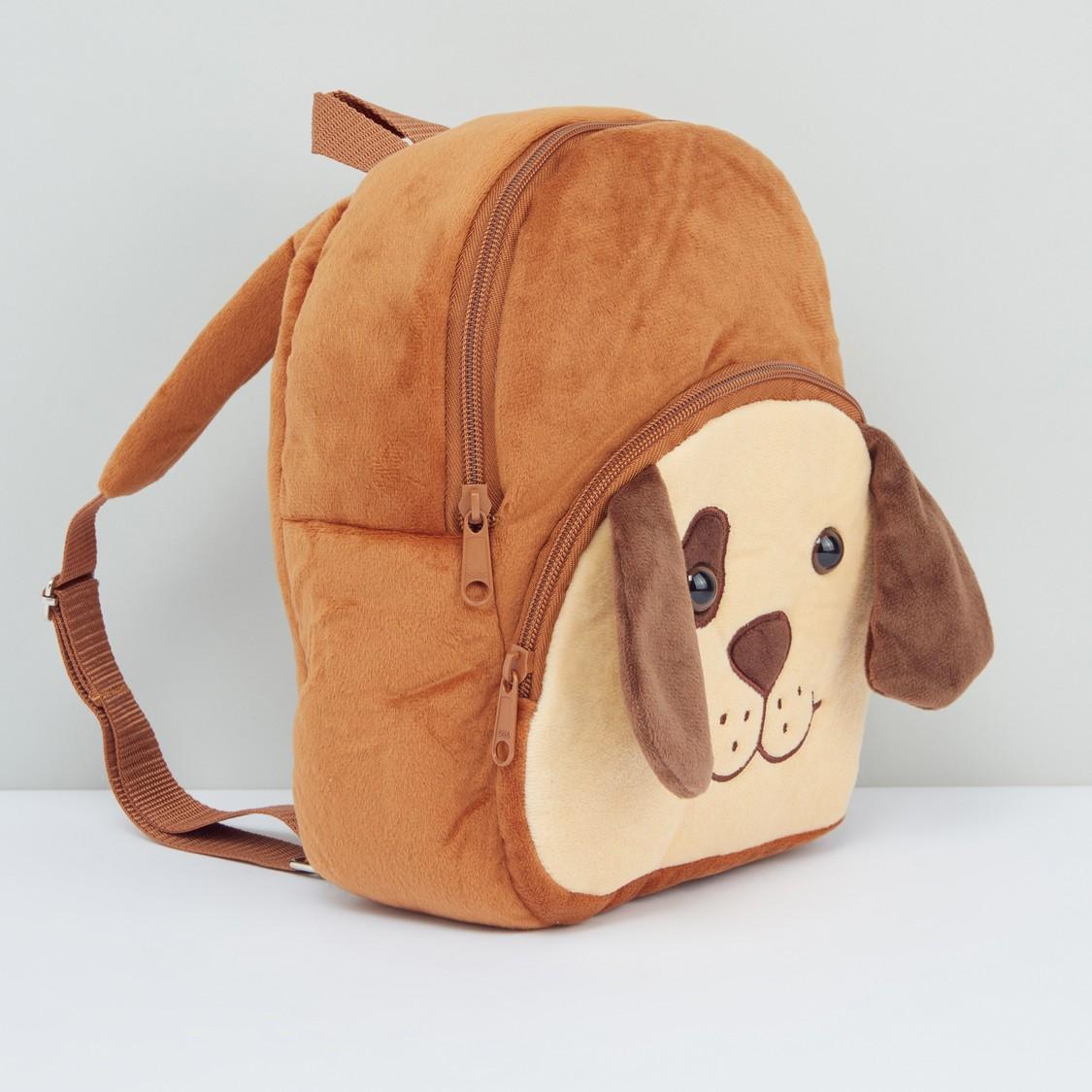 Dog Applique Detail Plush Backpack with Adjustable Shoulder Straps