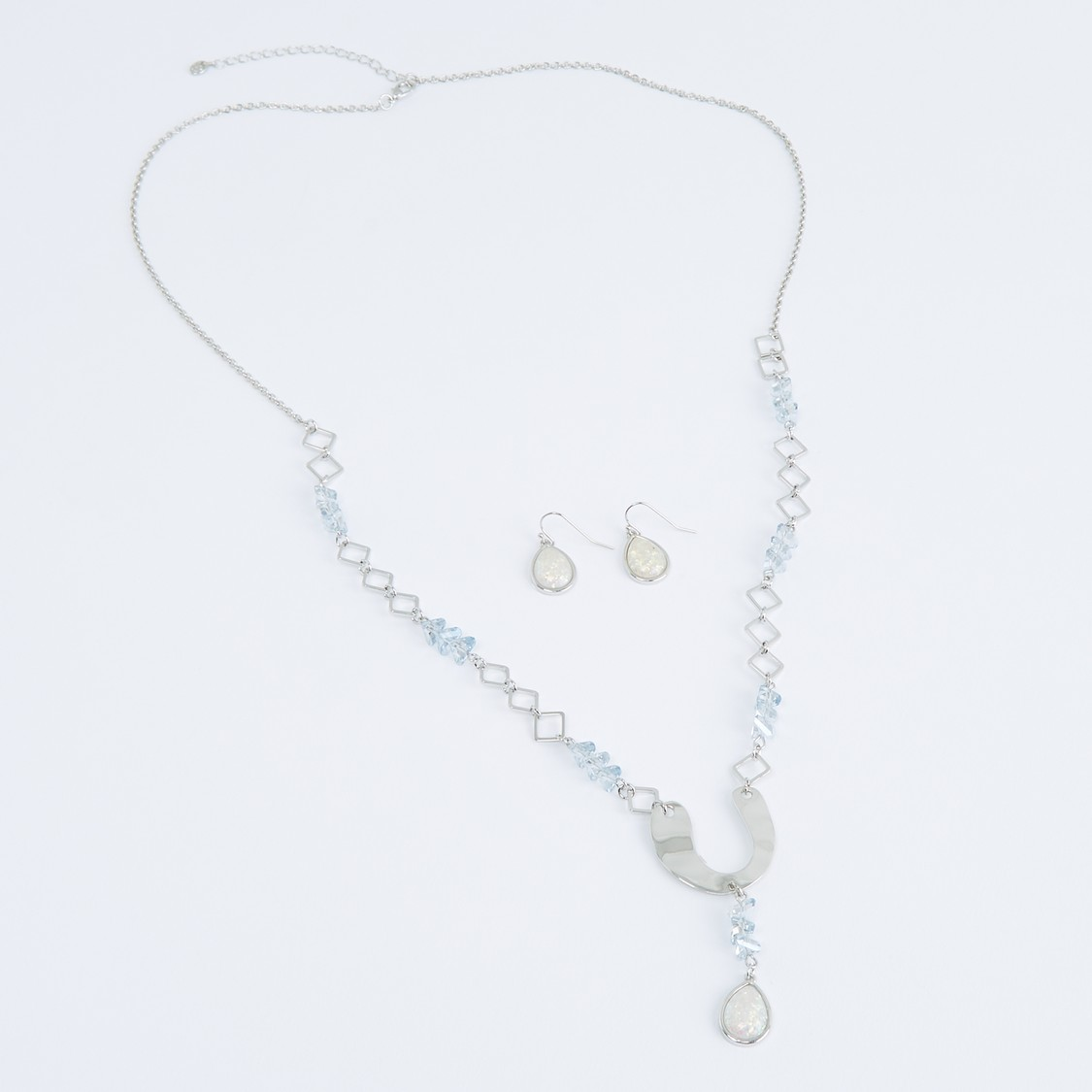 Studded Long Necklace and Earrings Set