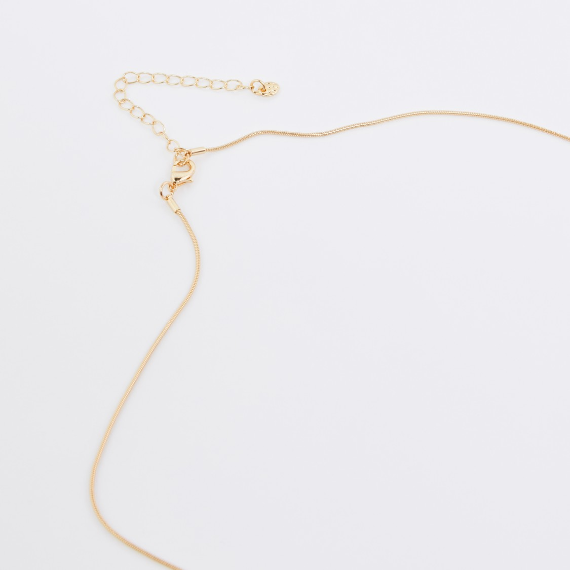 Metallic Long Necklace with Tassels and Stud Detail