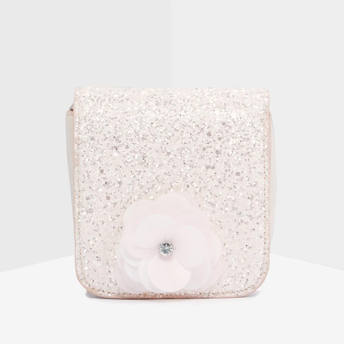 Glitter Satchel Bag with Flower Applique Detail