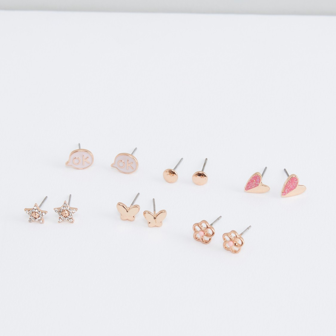 Metallic Earrings with Pushback Closure - Set of 6