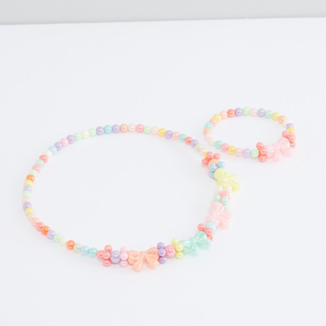 Beaded Necklace and Bracelet Set