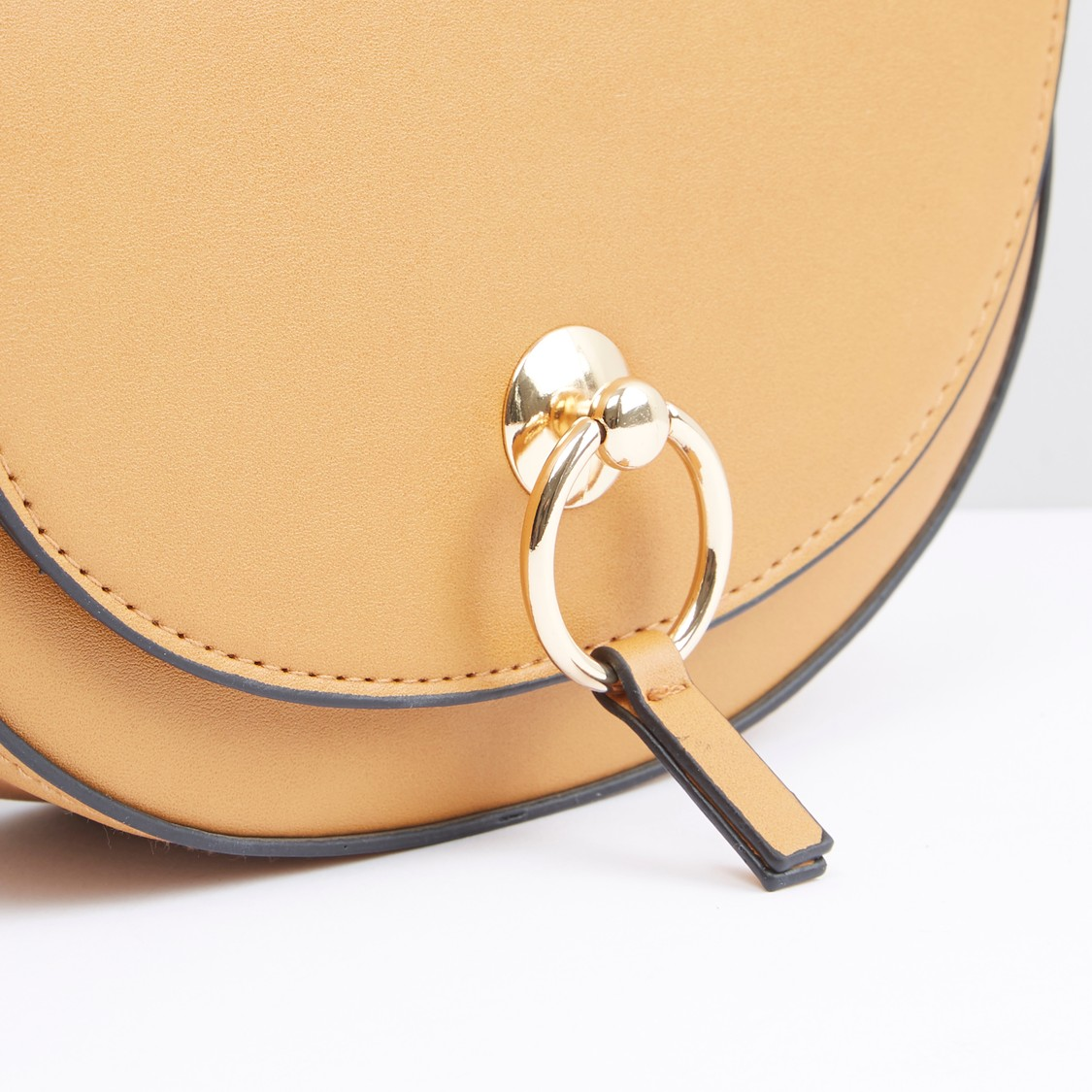 Metallic Detail Crossbody Bag with Magnetic Snap Closure
