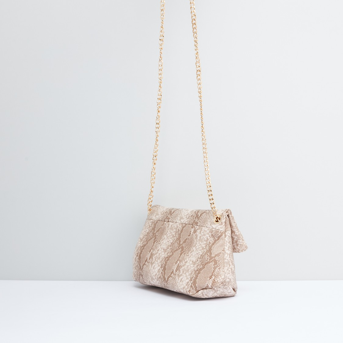 Animal Printed Crossbody Bag with Metallic Chain