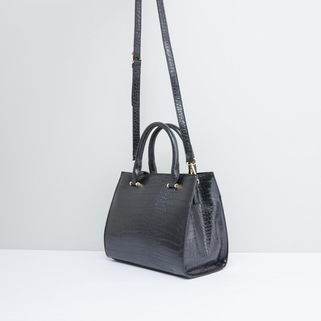 Textured Handbag with Zip Closure and Adjustable Shoulder Strap