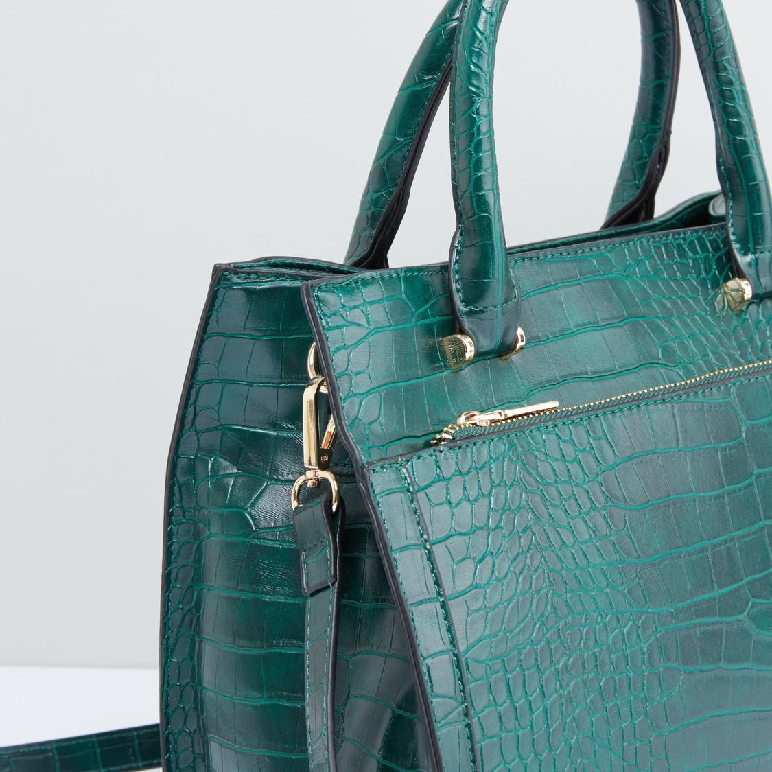 حقيبة يد بسحّاب إغلاق وحمالة كتف قابلة للتعديل