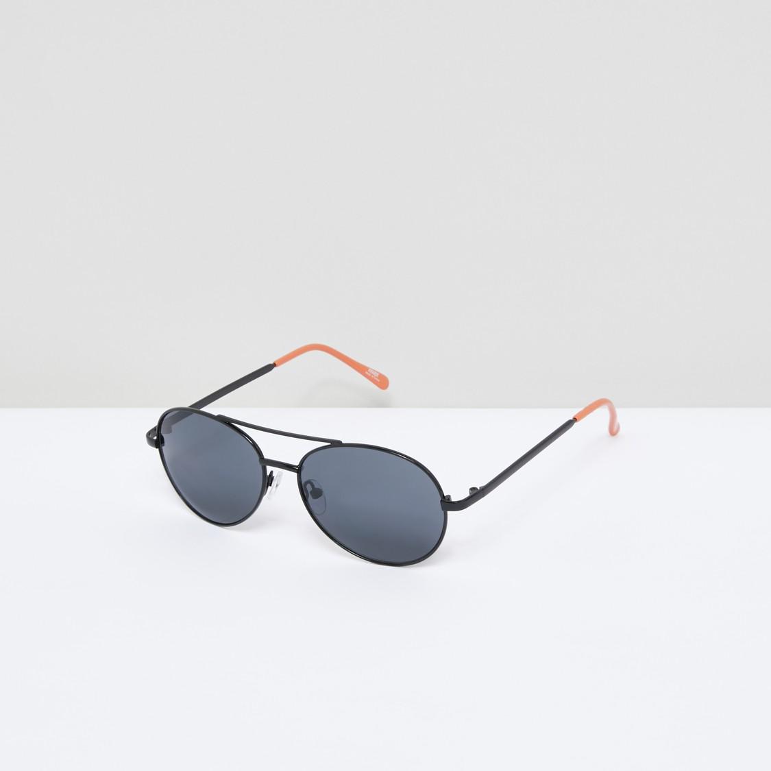 Metallic Full Rim Aviator Sunglasses