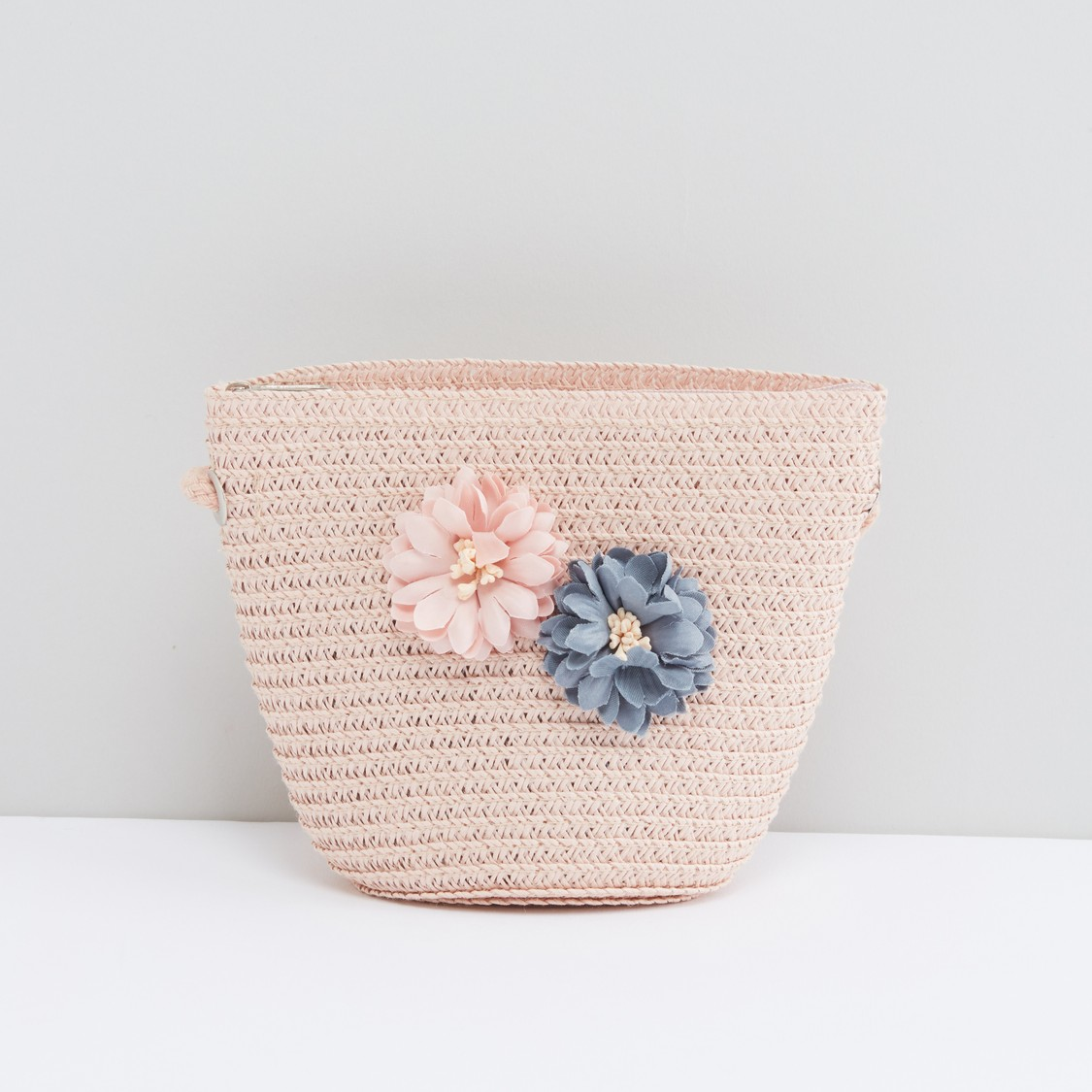 Textured Crossbody Bag with Flower Applique