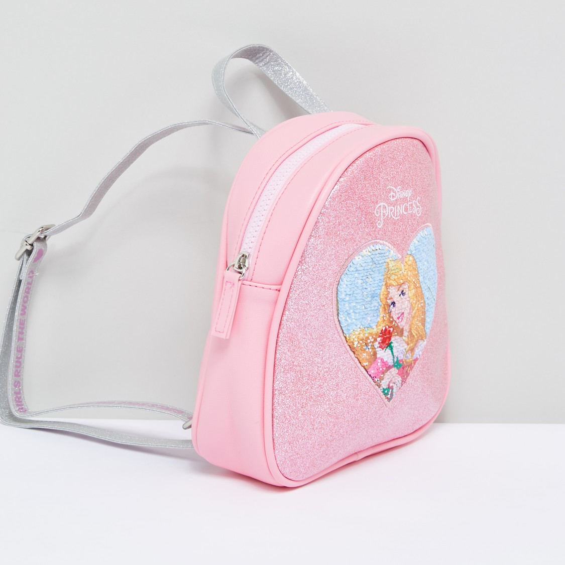 Princess Aurora Sequin Detail Glitter Backpack with Adjustable Straps
