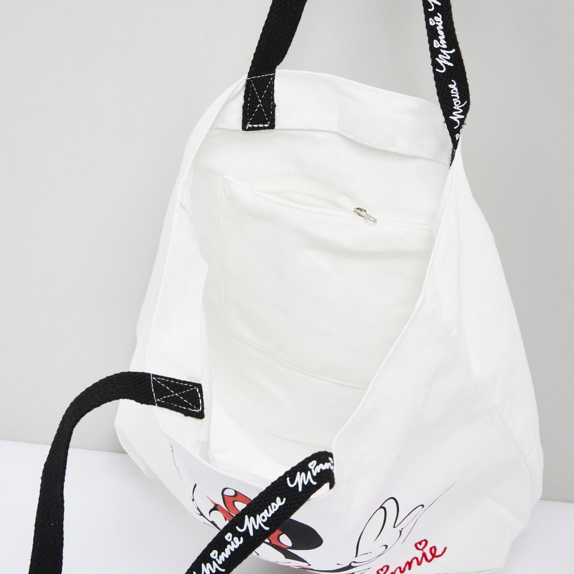 حقيبة يد بمقابض مزدوجة وطبعات ميني ماوس