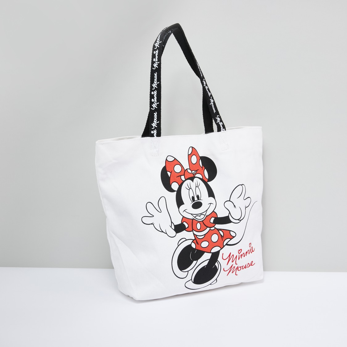 Minnie Mouse Printed Handbag with Twin Handles