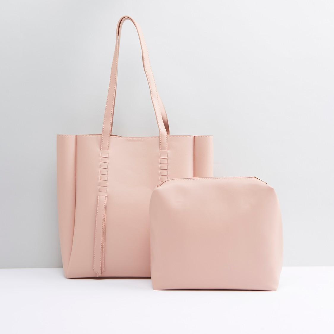 حقيبة توتي بمقابض حمّالات مزدوجة مع حقيبة صغيرة