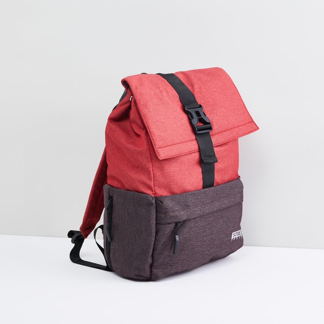 Pocket Detail Backpack with Flap and Buckle Closure