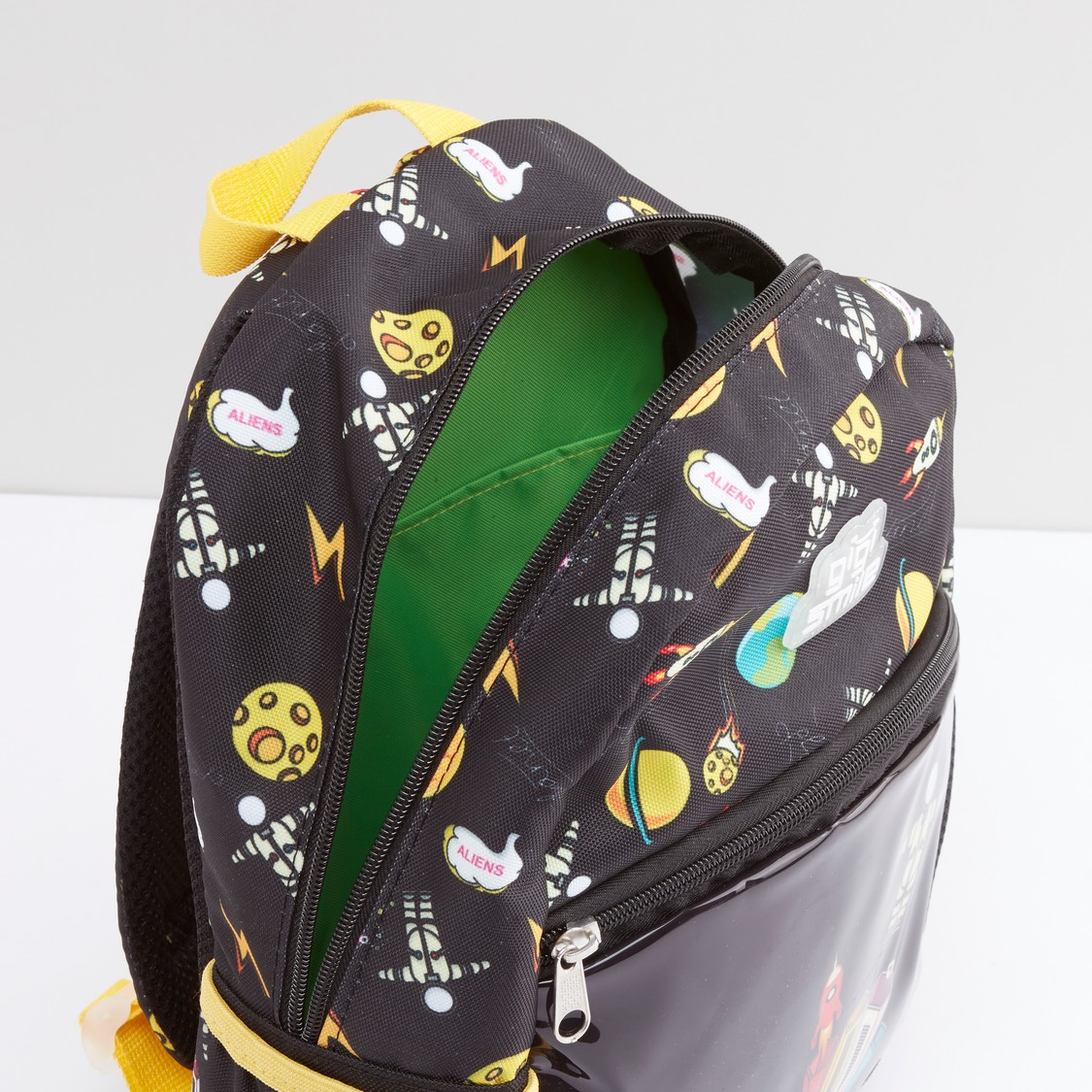 Printed Backpack with Zip Closure and Adjustable Straps