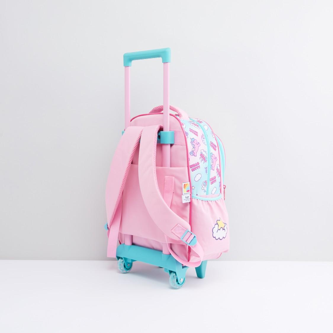 حقيبة ظهر بعجلات مع مقبض قابل للسحب وطبعات هالو كيتي