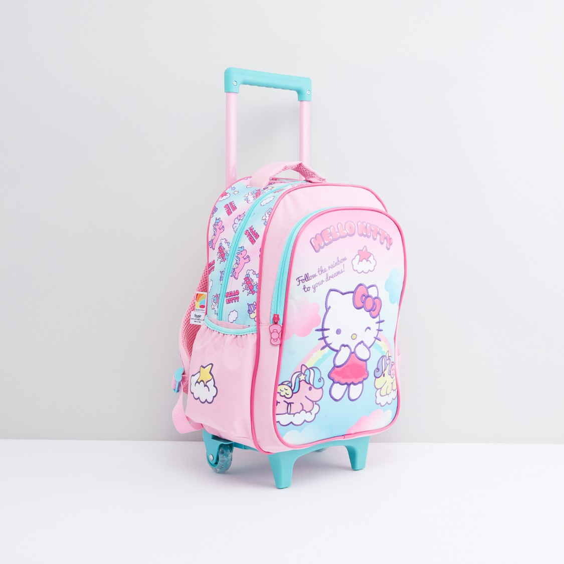 Hello Kitty Print Trolley Backpack with Retractable Handle