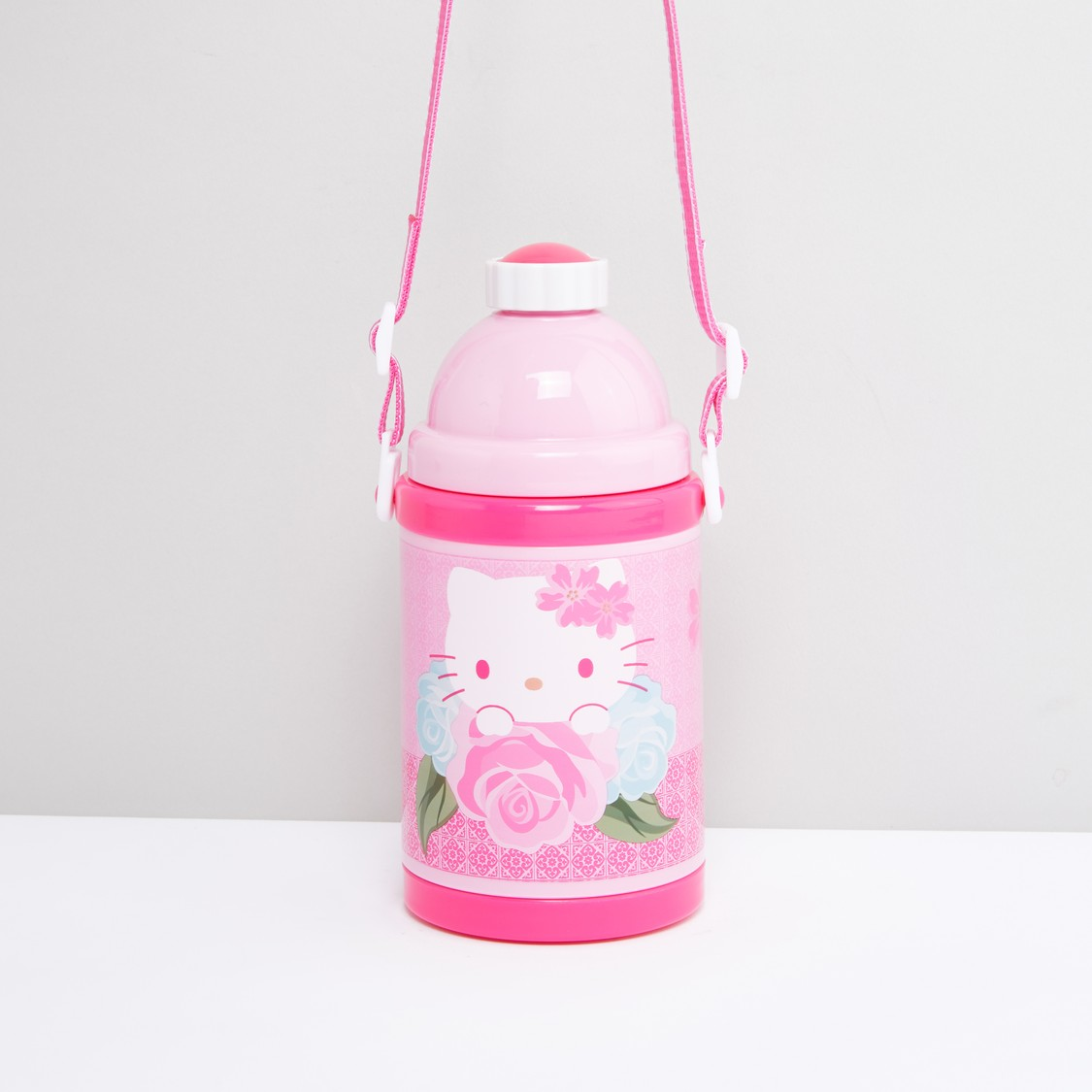 Hello Kitty Printed Water Bottle with Strap