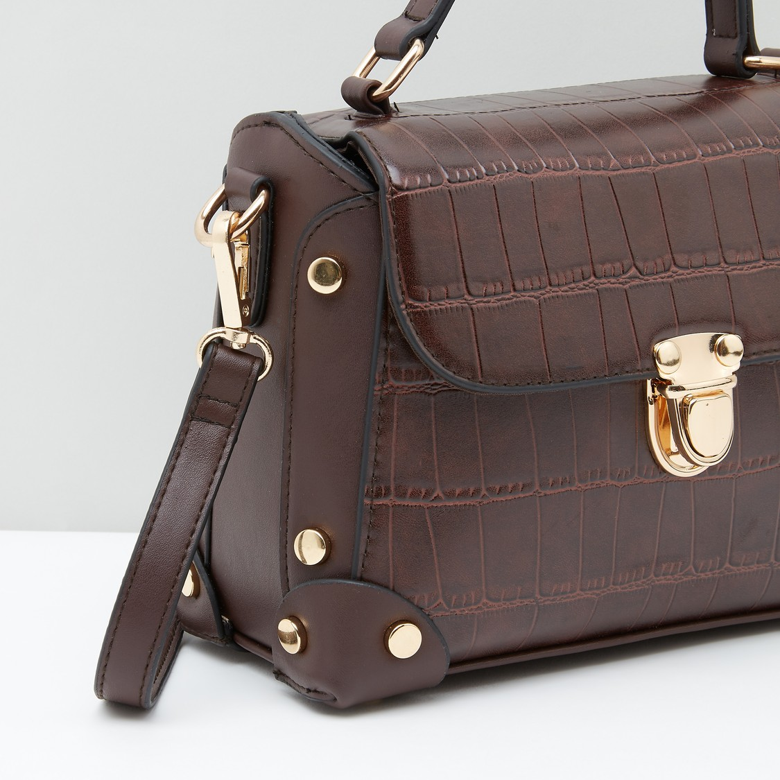 Textured Satchel Bag with Press and Lock Closure