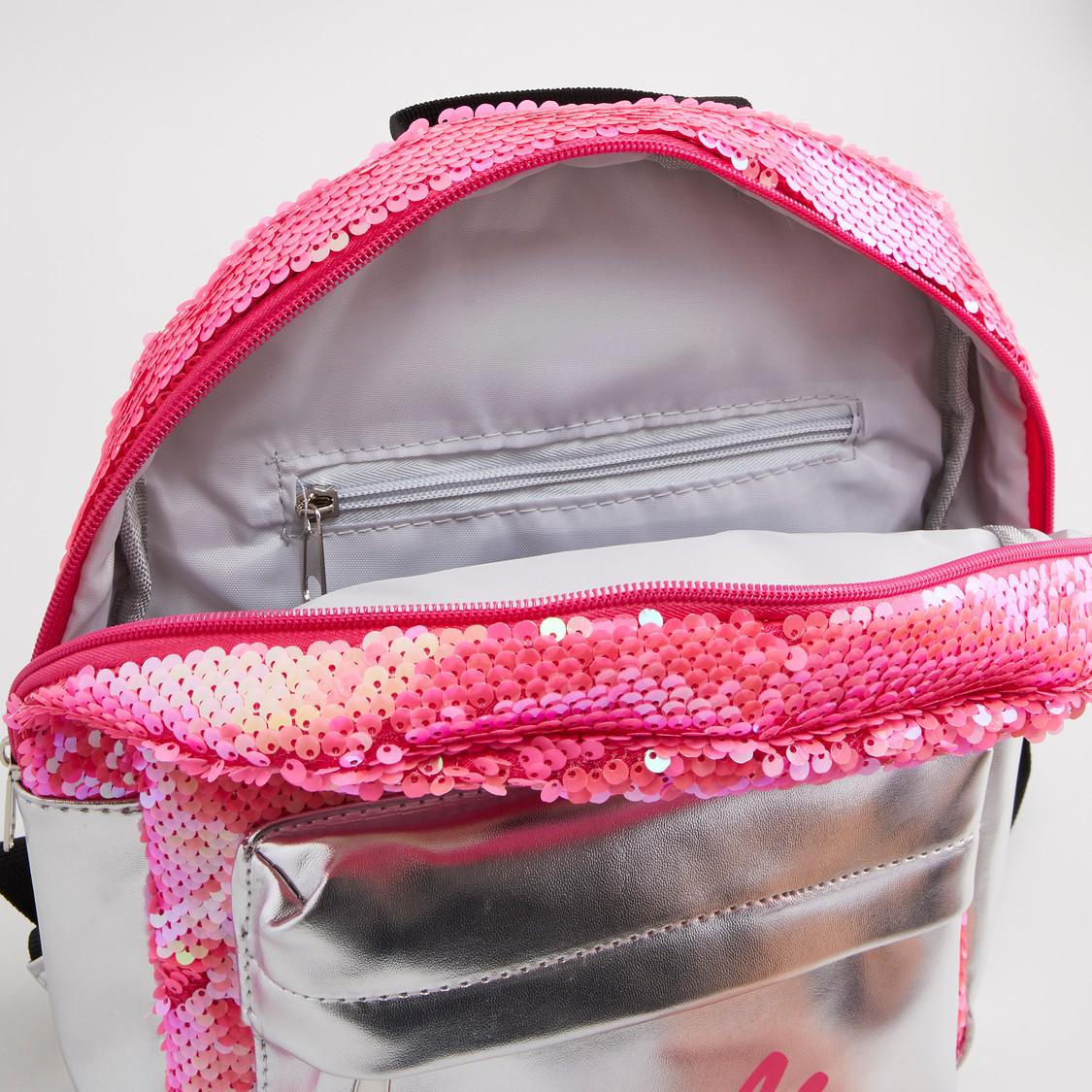 حقيبة ظهر بسحاب إغلاق وحمالات كتف قابلة للتعديل مع تفاصيل ترتر