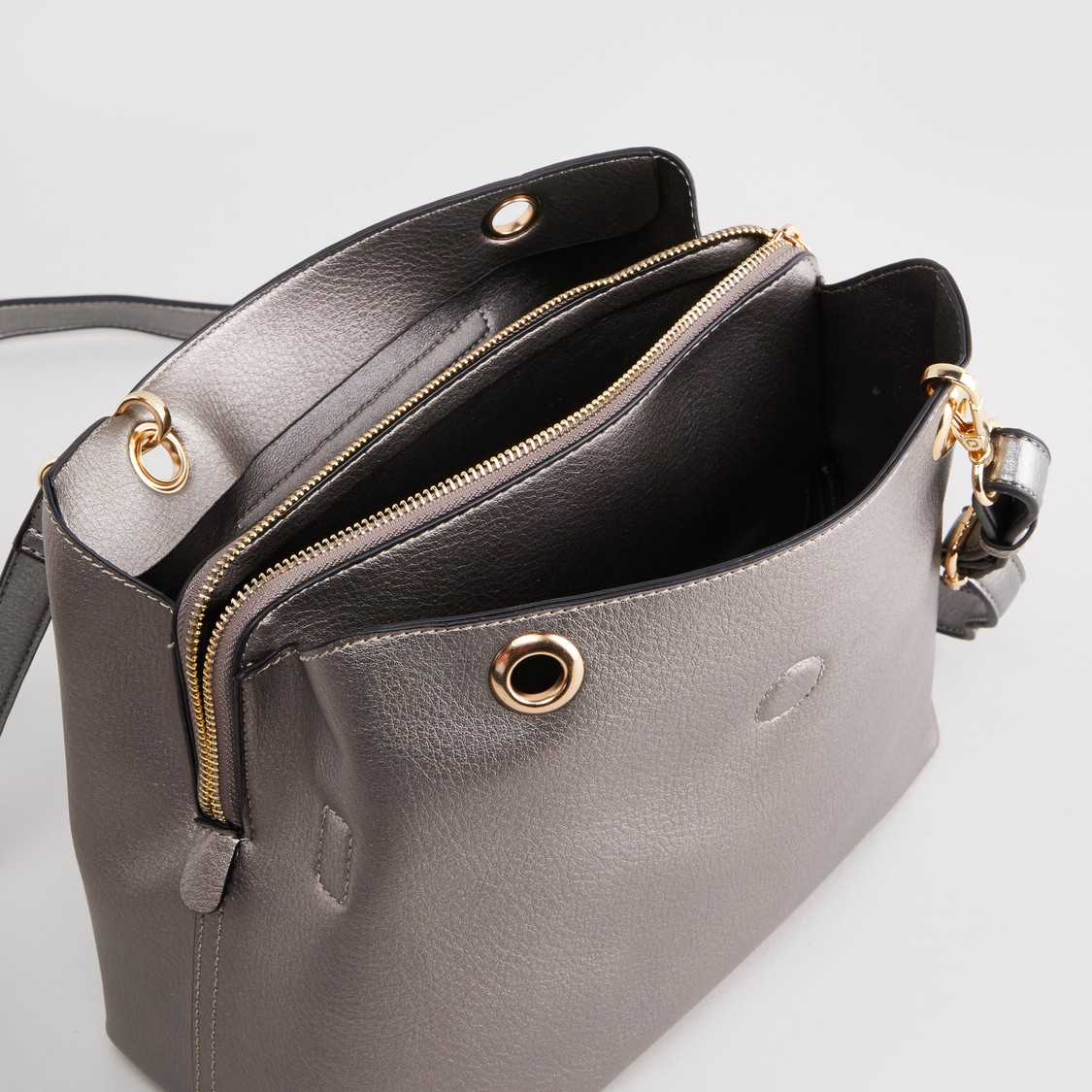 Textured Handbag with Detachable Shoulder Strap