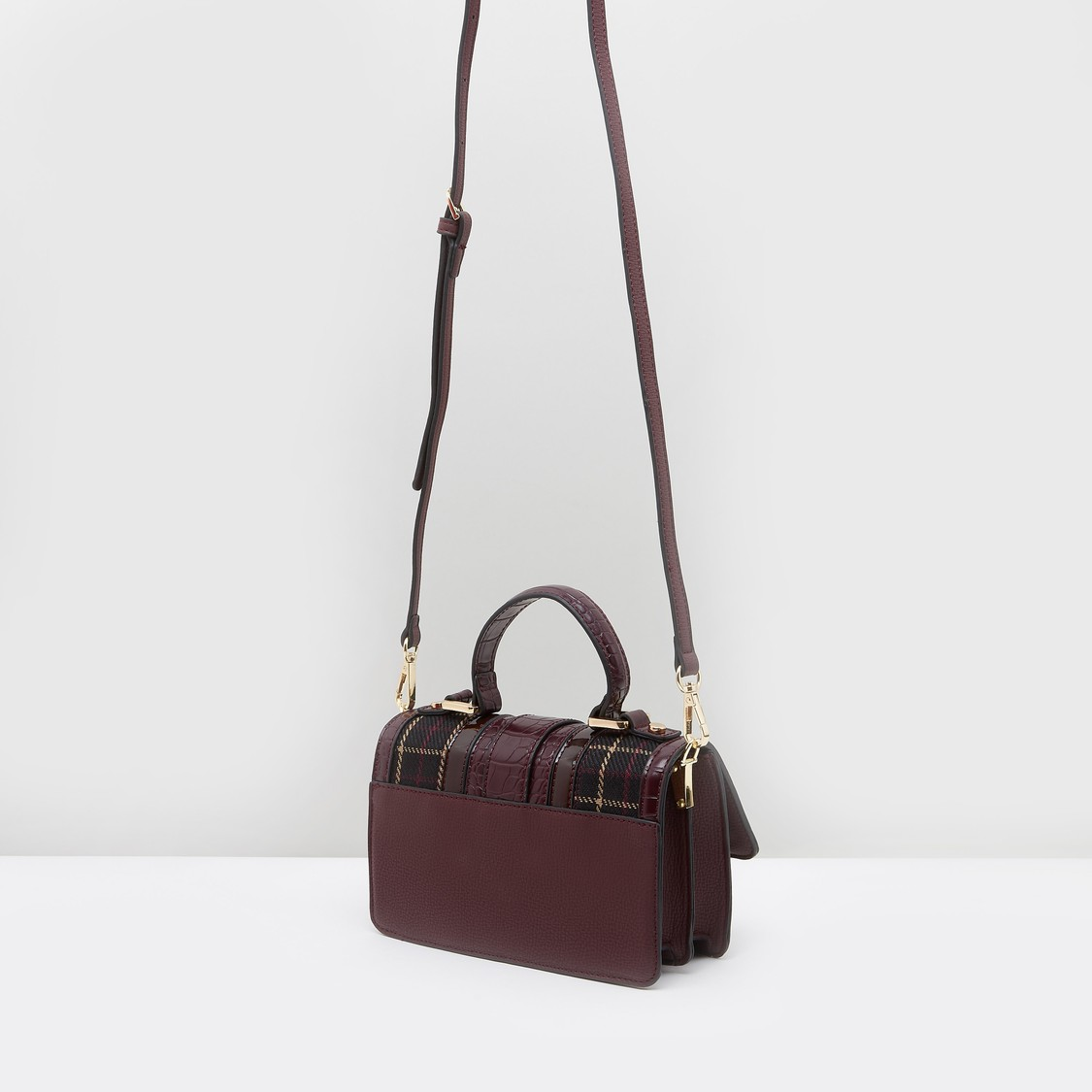 Textured Satchel Bag with Snap Button Closure