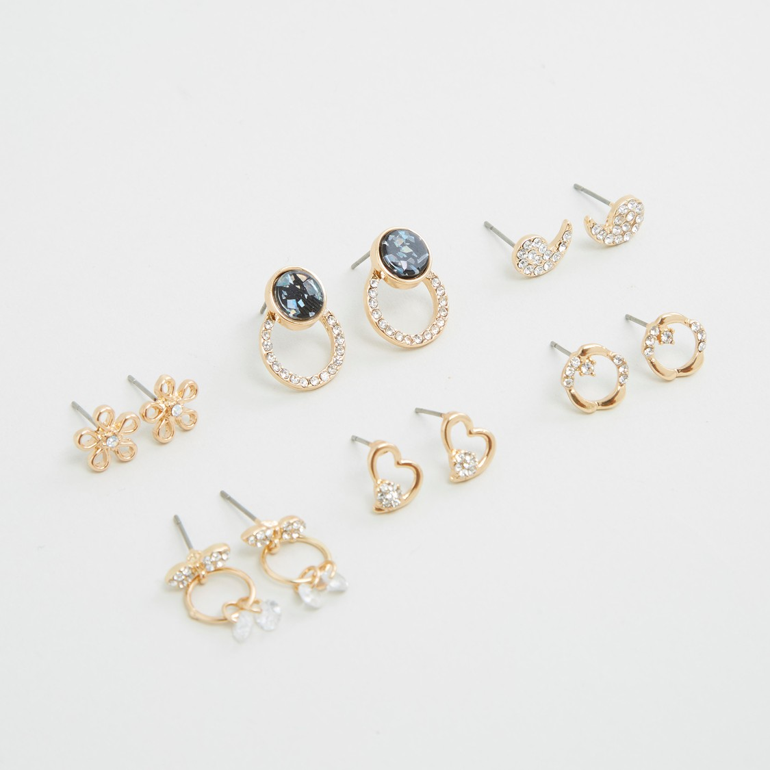 Set of 6 - Studded Earrings with Pushback Closure